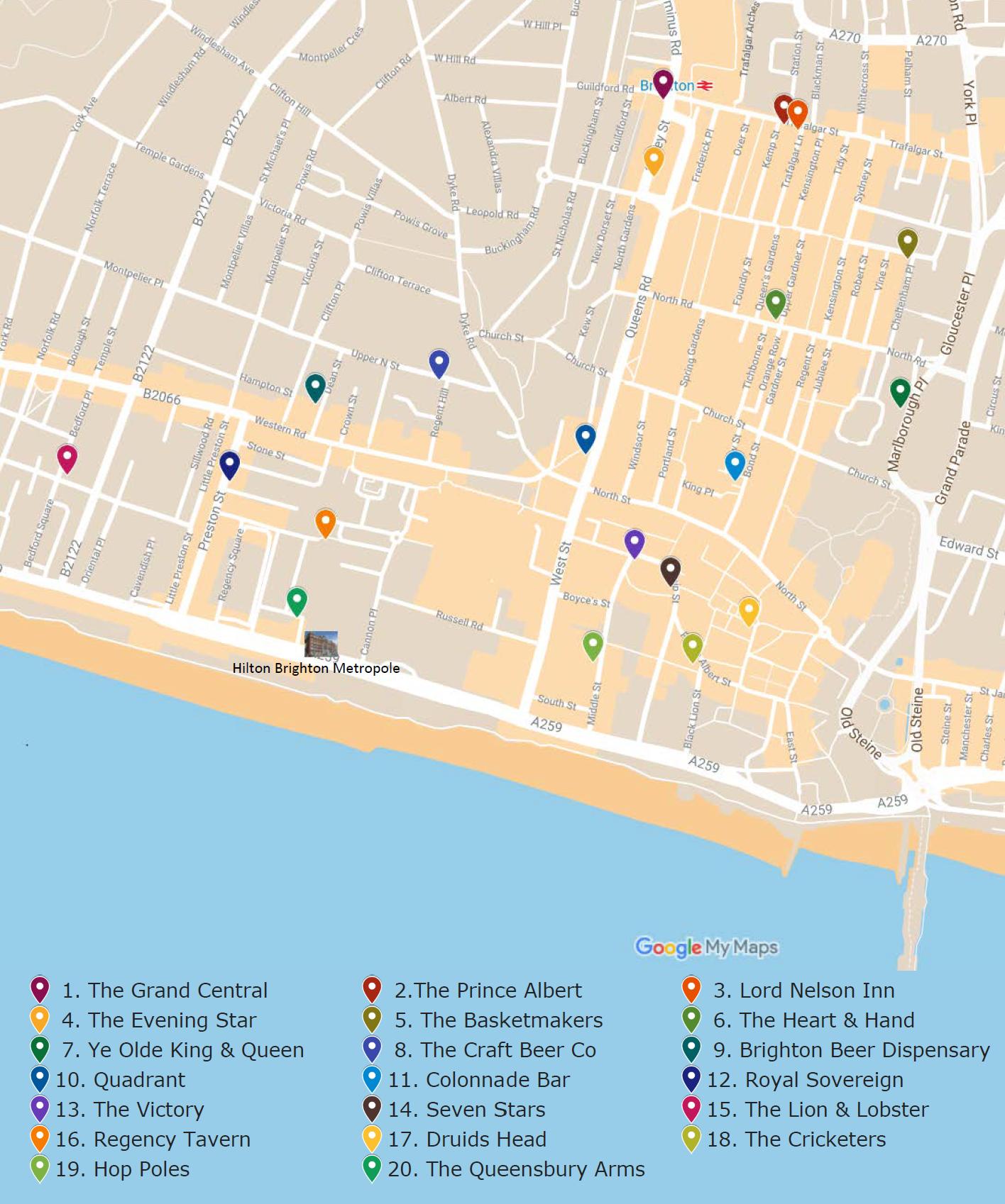 Brighton pubs Google map